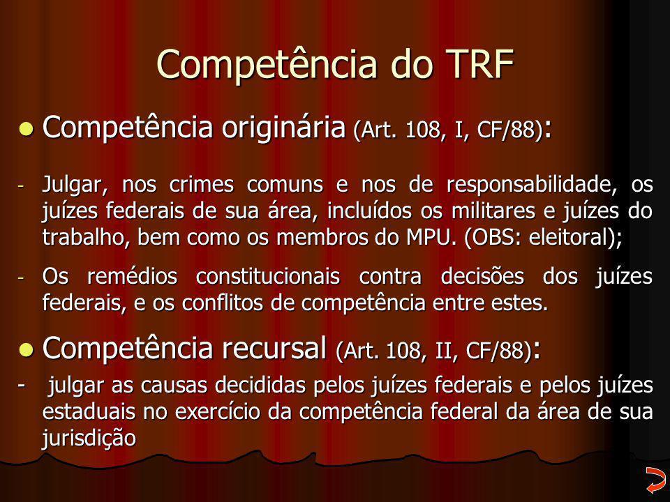 Competência do TRF Competência originária (Art. 108, I, CF/88) : Competência originária (Art. 108, I, CF/88) : - Julgar, nos crimes comuns e nos de re
