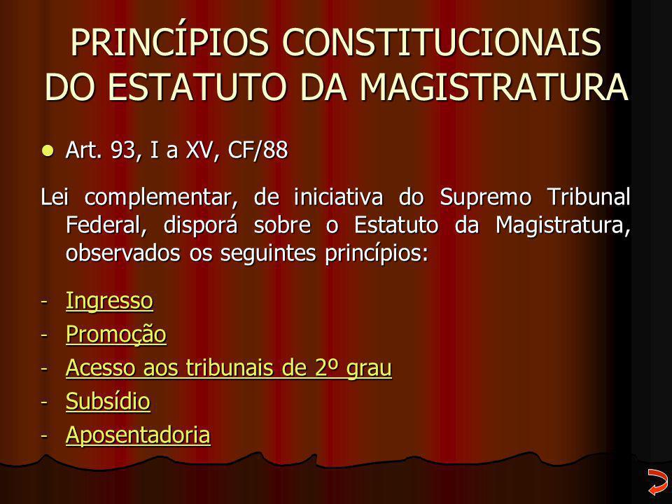 PRINCÍPIOS CONSTITUCIONAIS DO ESTATUTO DA MAGISTRATURA Art. 93, I a XV, CF/88 Art. 93, I a XV, CF/88 Lei complementar, de iniciativa do Supremo Tribun