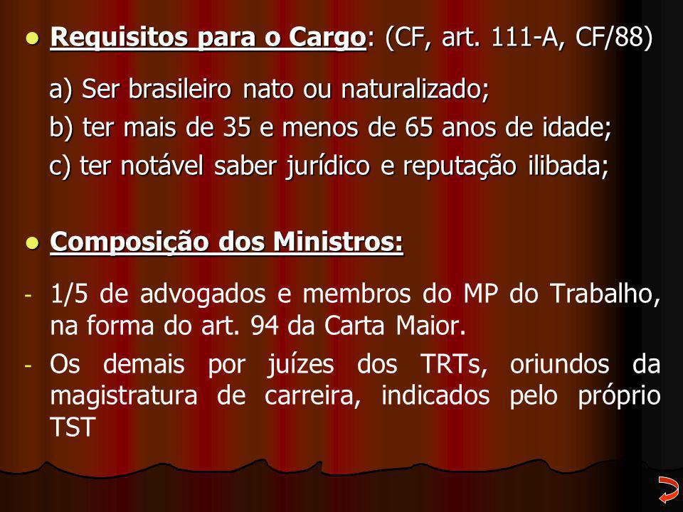Requisitos para o Cargo: (CF, art. 111-A, CF/88) Requisitos para o Cargo: (CF, art. 111-A, CF/88) a) Ser brasileiro nato ou naturalizado; a) Ser brasi