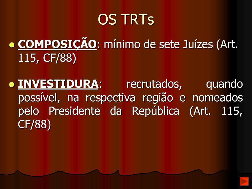 OS TRTs COMPOSIÇÃO: mínimo de sete Juízes (Art. 115, CF/88) COMPOSIÇÃO: mínimo de sete Juízes (Art. 115, CF/88) INVESTIDURA: recrutados, quando possív