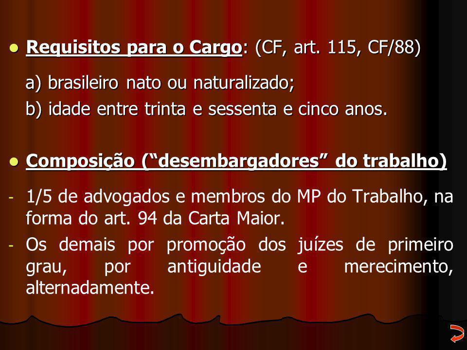 Requisitos para o Cargo: (CF, art. 115, CF/88) Requisitos para o Cargo: (CF, art. 115, CF/88) a) brasileiro nato ou naturalizado; a) brasileiro nato o