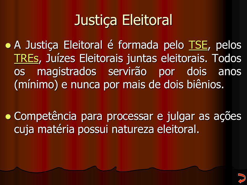 Justiça Eleitoral A Justiça Eleitoral é formada pelo TSE, pelos TREs, Juízes Eleitorais juntas eleitorais. Todos os magistrados servirão por dois anos