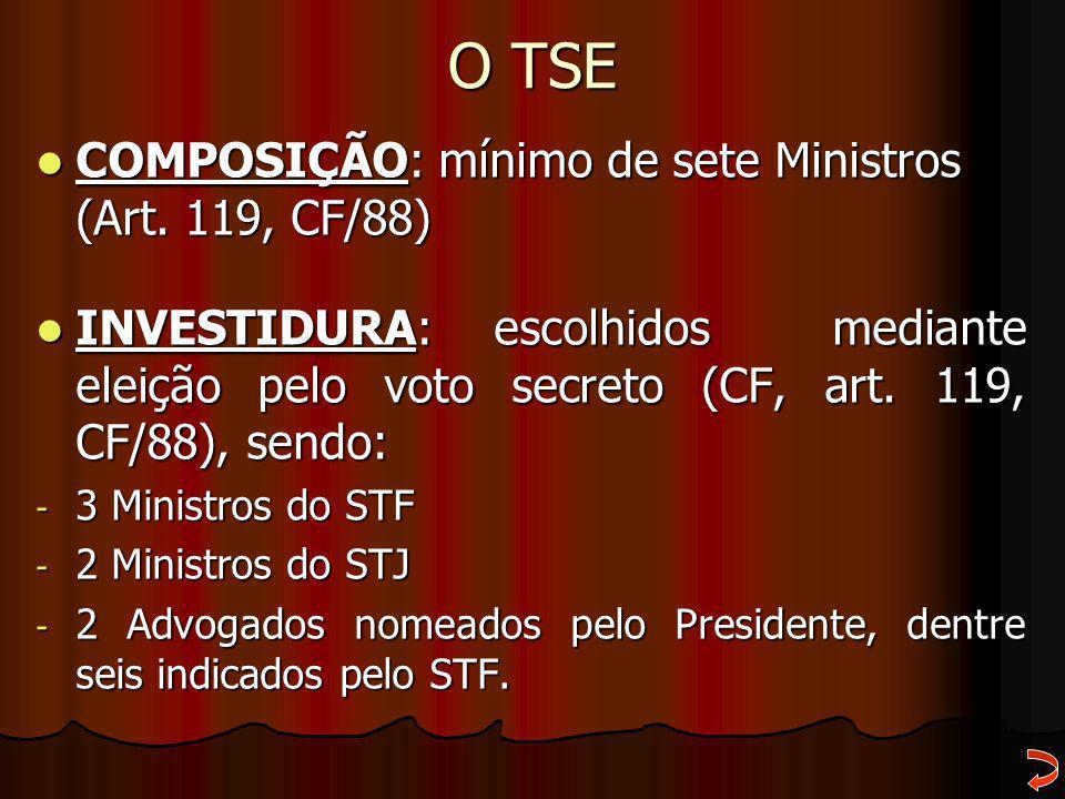 O TSE COMPOSIÇÃO: mínimo de sete Ministros (Art. 119, CF/88) COMPOSIÇÃO: mínimo de sete Ministros (Art. 119, CF/88) INVESTIDURA: escolhidos mediante e