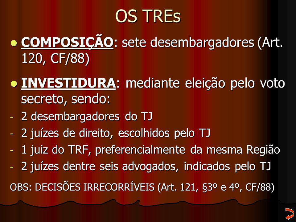 OS TREs COMPOSIÇÃO: sete desembargadores (Art. 120, CF/88) COMPOSIÇÃO: sete desembargadores (Art. 120, CF/88) INVESTIDURA: mediante eleição pelo voto