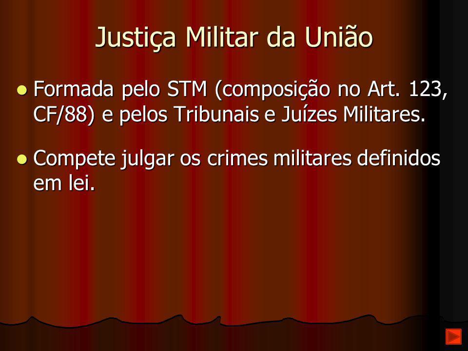 Justiça Militar da União Formada pelo STM (composição no Art. 123, CF/88) e pelos Tribunais e Juízes Militares. Formada pelo STM (composição no Art. 1