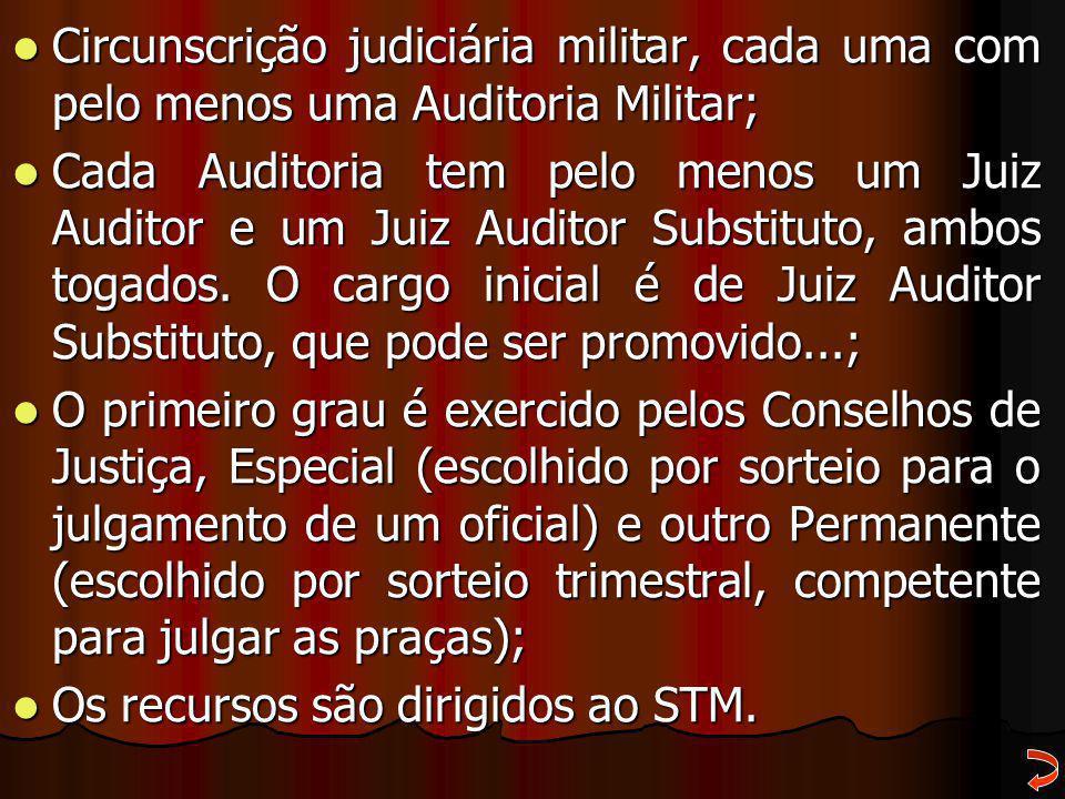Circunscrição judiciária militar, cada uma com pelo menos uma Auditoria Militar; Circunscrição judiciária militar, cada uma com pelo menos uma Auditor