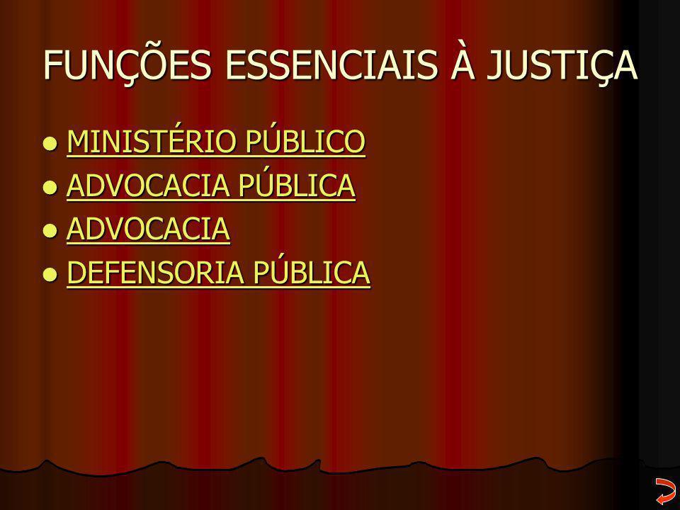 FUNÇÕES ESSENCIAIS À JUSTIÇA MINISTÉRIO PÚBLICO MINISTÉRIO PÚBLICO MINISTÉRIO PÚBLICO MINISTÉRIO PÚBLICO ADVOCACIA PÚBLICA ADVOCACIA PÚBLICA ADVOCACIA