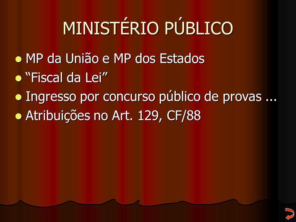 """MINISTÉRIO PÚBLICO MP da União e MP dos Estados MP da União e MP dos Estados """"Fiscal da Lei"""" """"Fiscal da Lei"""" Ingresso por concurso público de provas.."""