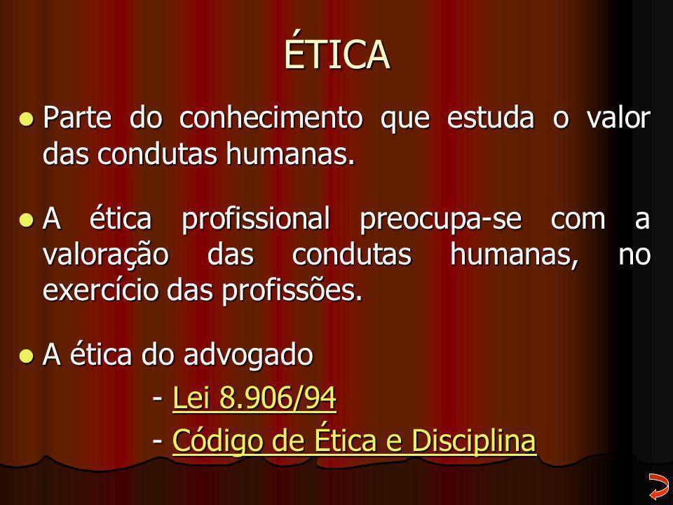 ÉTICA Parte do conhecimento que estuda o valor das condutas humanas. Parte do conhecimento que estuda o valor das condutas humanas. A ética profission