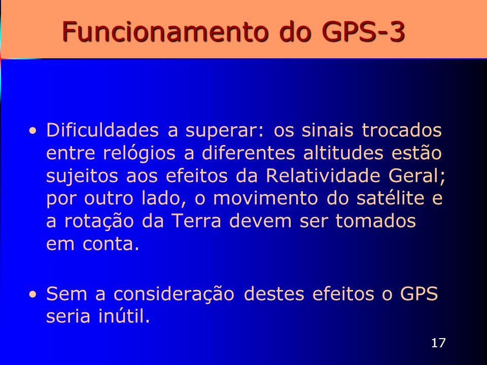 17 Funcionamento do GPS-3 Dificuldades a superar: os sinais trocados entre relógios a diferentes altitudes estão sujeitos aos efeitos da Relatividade
