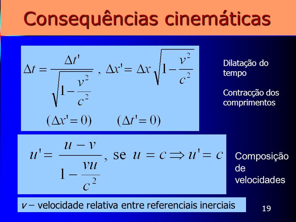 19 Consequências cinemáticas Dilatação do tempo Contracção dos comprimentos Composição de velocidades v ̶ velocidade relativa entre referenciais inerc