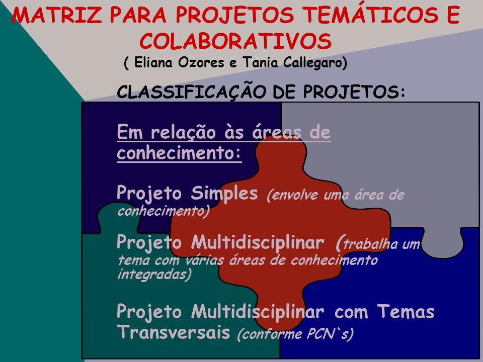 MATRIZ PARA PROJETOS TEMÁTICOS E COLABORATIVOS ( Eliana Ozores e Tania Callegaro) PROJETO:. Nome. Descrição. Série/ Turma. Áreas. Tema principal. Obje