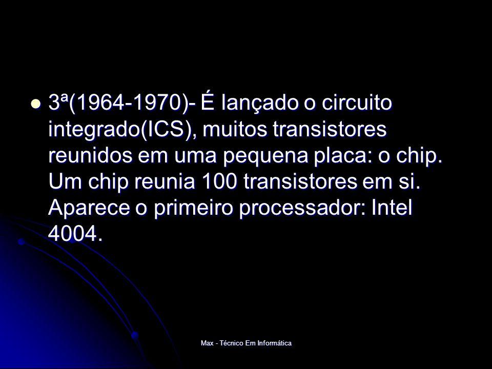 Max - Técnico Em Informática 3ª(1964-1970)- É lançado o circuito integrado(ICS), muitos transistores reunidos em uma pequena placa: o chip.