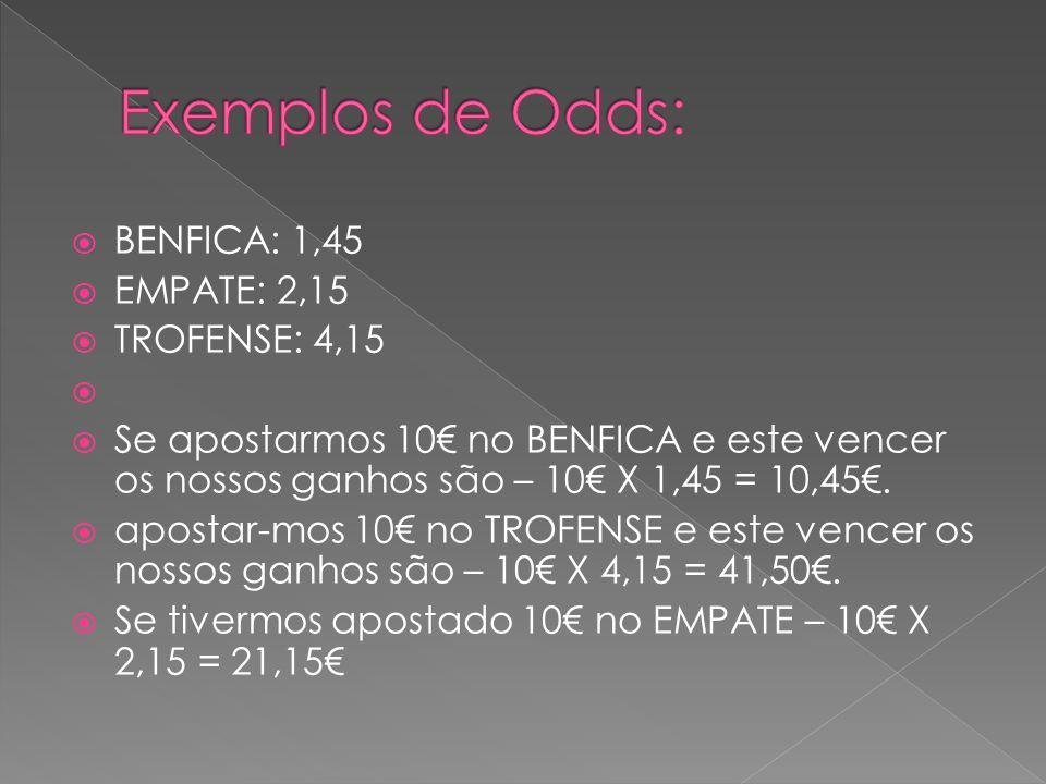  BENFICA: 1,45  EMPATE: 2,15  TROFENSE: 4,15   Se apostarmos 10€ no BENFICA e este vencer os nossos ganhos são – 10€ X 1,45 = 10,45€.