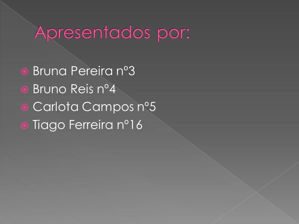  Bruna Pereira nº3  Bruno Reis nº4  Carlota Campos nº5  Tiago Ferreira nº16