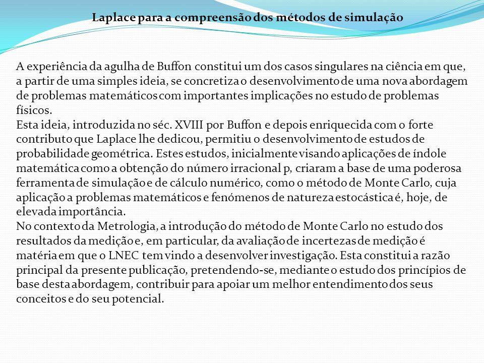 Laplace para a compreensão dos métodos de simulação A experiência da agulha de Buffon constitui um dos casos singulares na ciência em que, a partir de