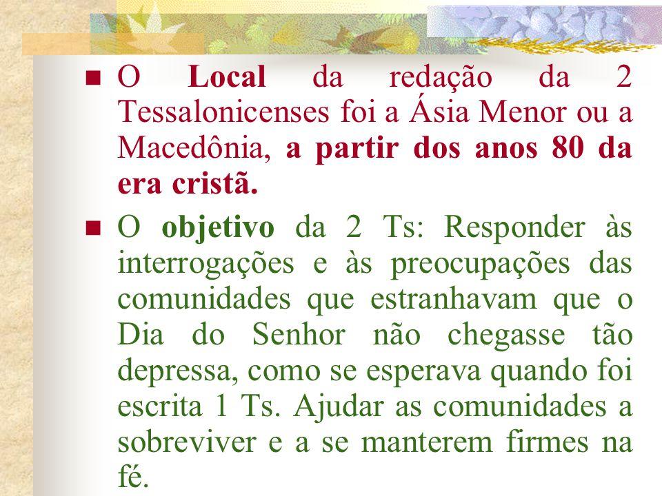 A 2 Ts é atribuída a Paulo, Silvano e Timóteo (cf. 2Ts 1,1; 3,17). Mas provavelmente os autores foram Silvano e Timóteo ou discípulos deles. Dois moti