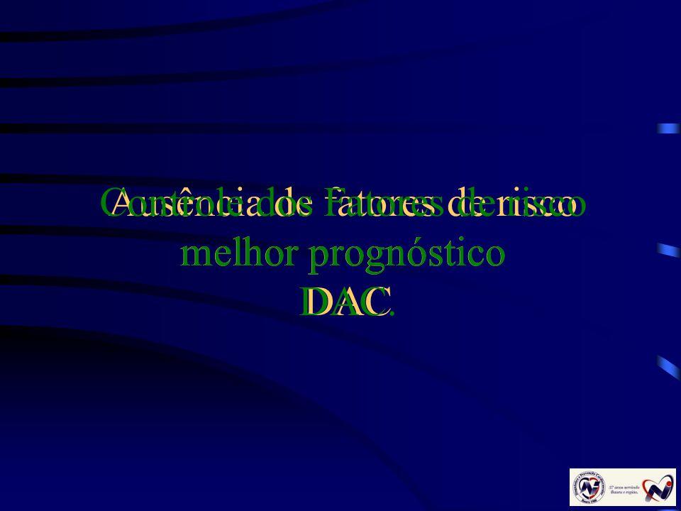 Ausência de fatores de risco melhor prognóstico DAC Controle dos Fatores de risco melhor prognóstico DAC.