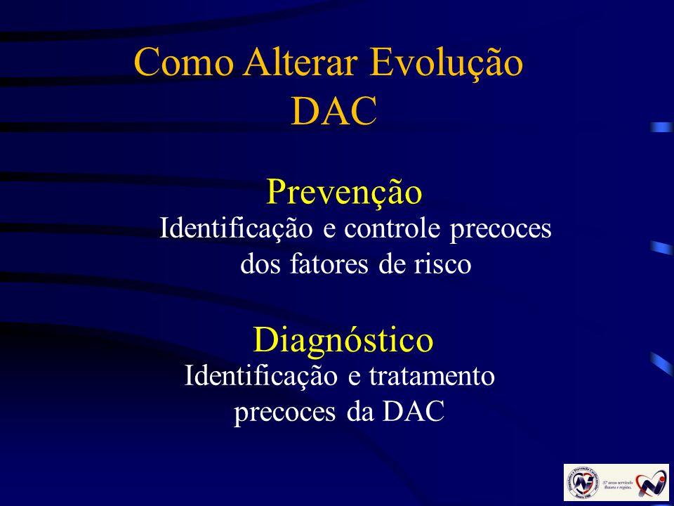 Prevenção Identificação e controle precoces dos fatores de risco Identificação e tratamento precoces da DAC Diagnóstico Como Alterar Evolução DAC