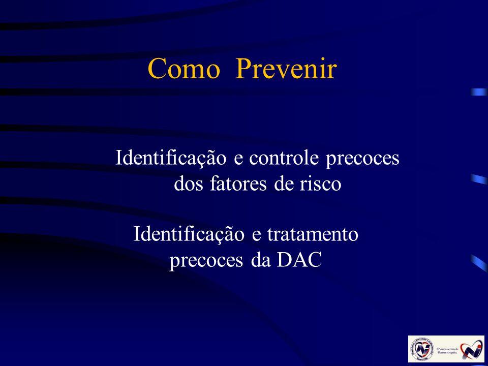 Identificação e controle precoces dos fatores de risco Identificação e tratamento precoces da DAC Como Prevenir