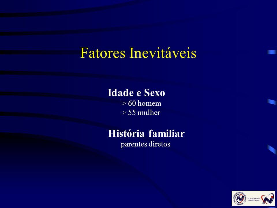 Fatores Inevitáveis Idade e Sexo > 60 homem > 55 mulher História familiar parentes diretos