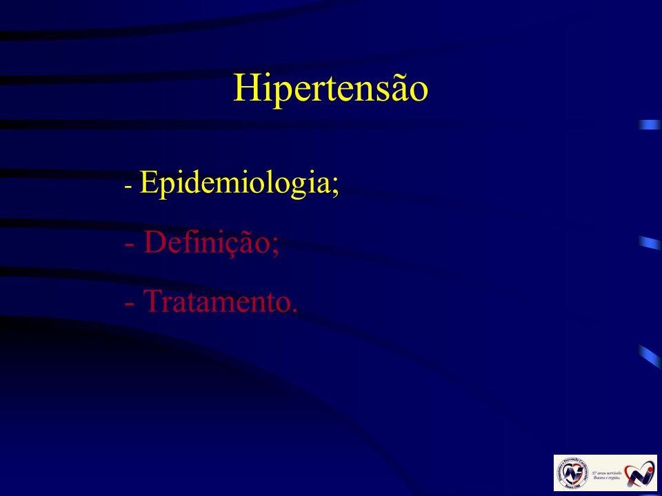 Hipertensão - Epidemiologia; - Definição; - Tratamento.