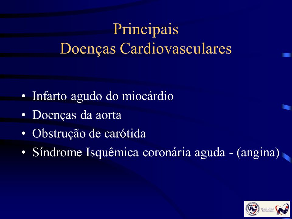 Principais Doenças Cardiovasculares Infarto agudo do miocárdio Doenças da aorta Obstrução de carótida Síndrome Isquêmica coronária aguda - (angina)