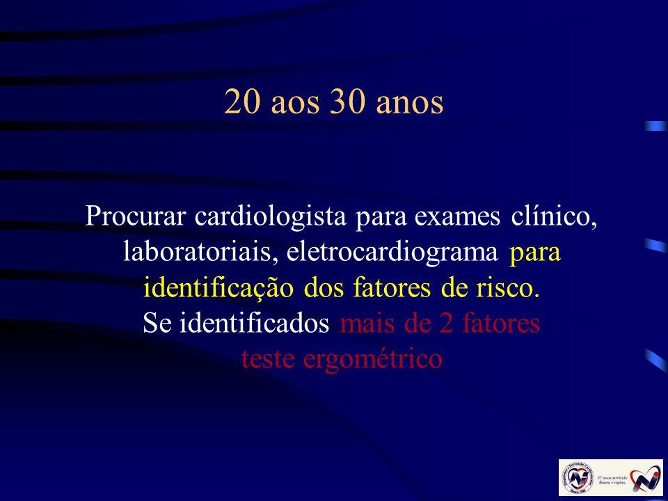 20 aos 30 anos Procurar cardiologista para exames clínico, laboratoriais, eletrocardiograma para identificação dos fatores de risco. Se identificados