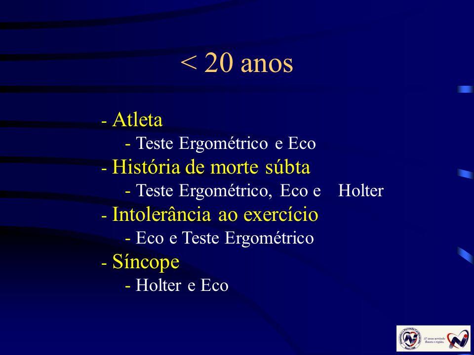 < 20 anos - Atleta - Teste Ergométrico e Eco - História de morte súbta - Teste Ergométrico, Eco e Holter - Intolerância ao exercício - Eco e Teste Erg