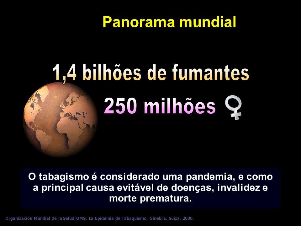 Panorama mundial O tabagismo é considerado uma pandemia, e como a principal causa evitável de doenças, invalidez e morte prematura. Organización Mundi