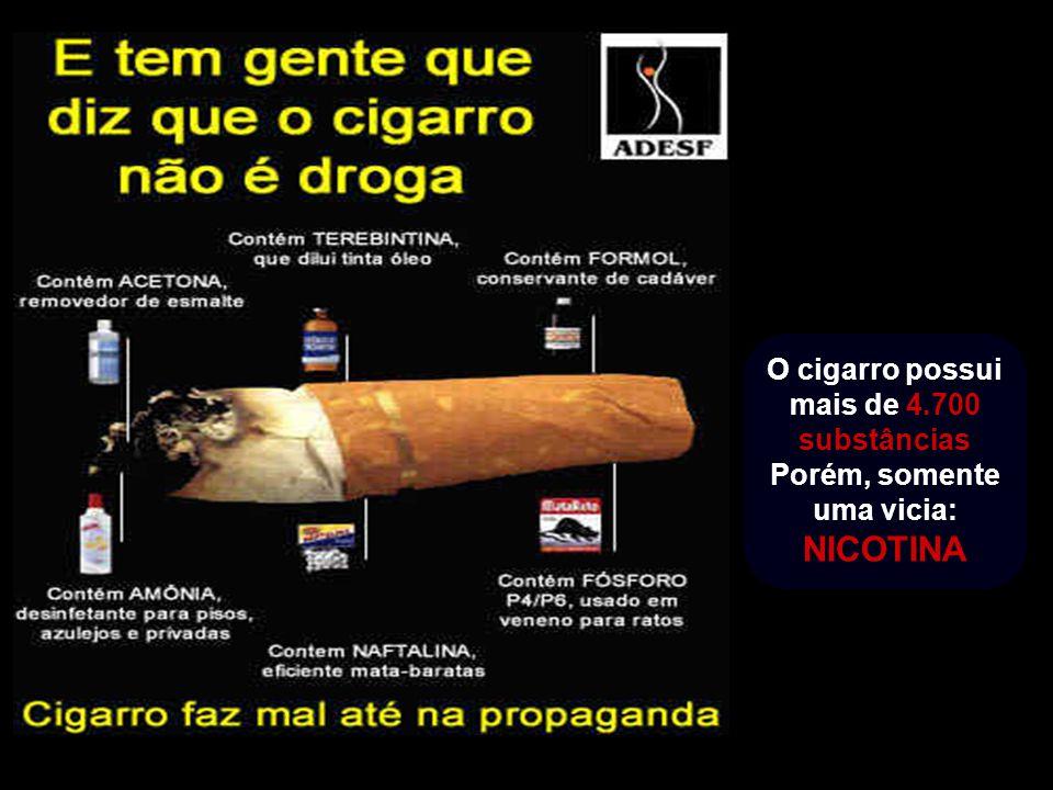 O cigarro possui mais de 4.700 substâncias Porém, somente uma vicia: NICOTINA