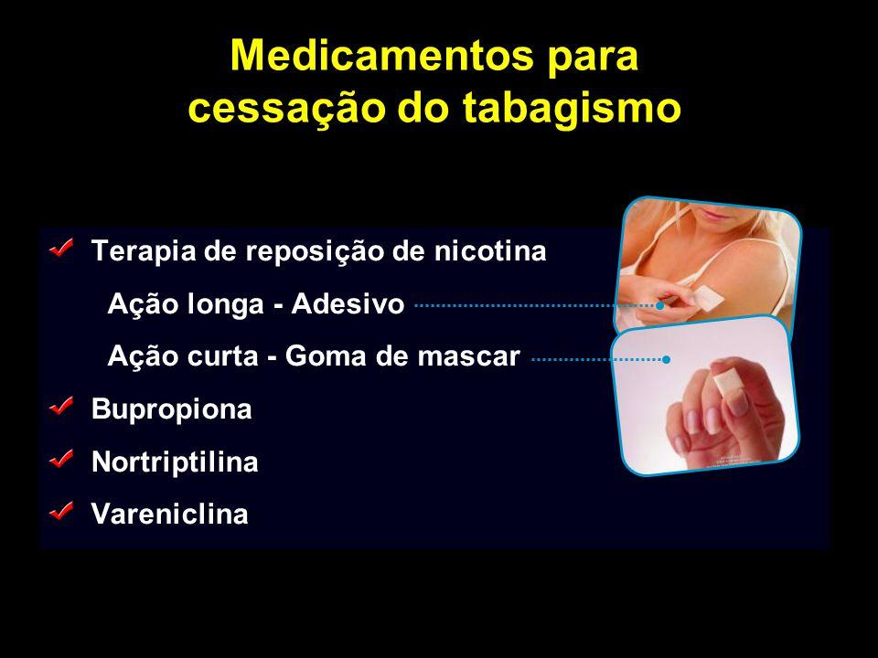 Medicamentos para cessação do tabagismo Terapia de reposição de nicotina Ação longa - Adesivo Ação curta - Goma de mascar Bupropiona Nortriptilina Var