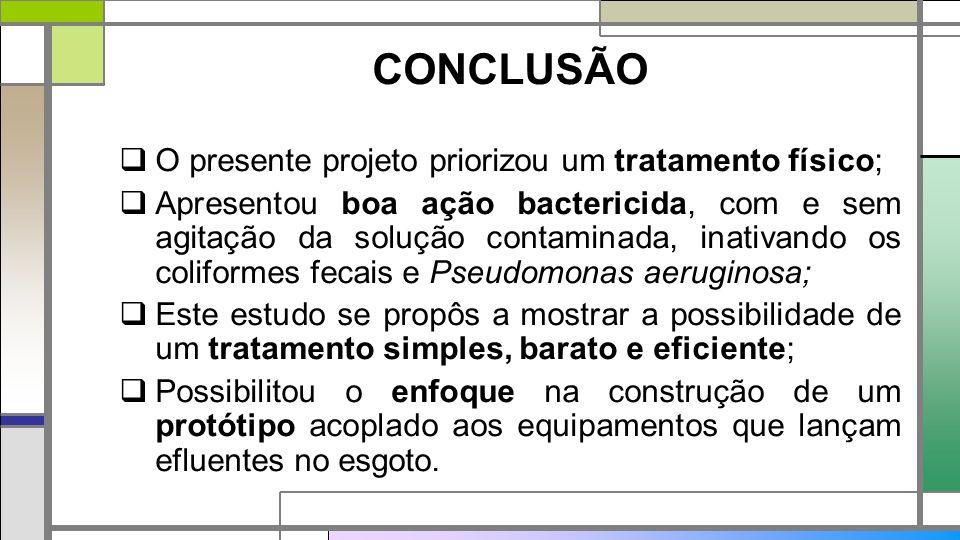CONCLUSÃO  O presente projeto priorizou um tratamento físico;  Apresentou boa ação bactericida, com e sem agitação da solução contaminada, inativand