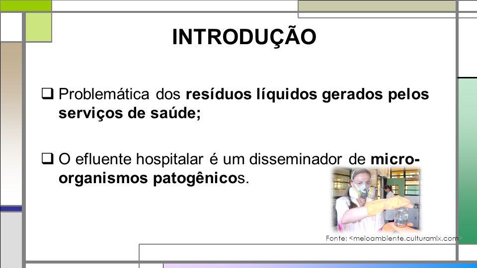  Problemática dos resíduos líquidos gerados pelos serviços de saúde;  O efluente hospitalar é um disseminador de micro- organismos patogênicos. Font