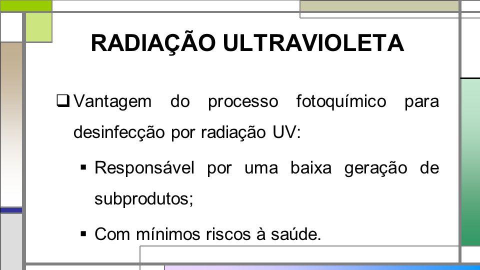 RADIAÇÃO ULTRAVIOLETA  Vantagem do processo fotoquímico para desinfecção por radiação UV:  Responsável por uma baixa geração de subprodutos;  Com mínimos riscos à saúde.