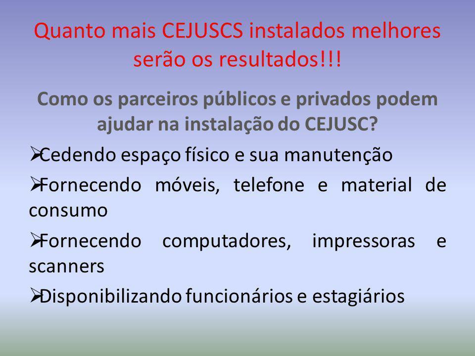Quanto mais CEJUSCS instalados melhores serão os resultados!!! Como os parceiros públicos e privados podem ajudar na instalação do CEJUSC?  Cedendo e