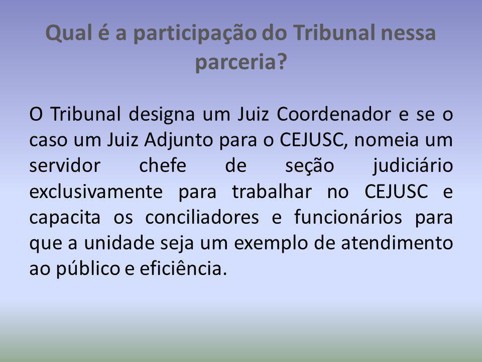 Qual é a participação do Tribunal nessa parceria? O Tribunal designa um Juiz Coordenador e se o caso um Juiz Adjunto para o CEJUSC, nomeia um servidor