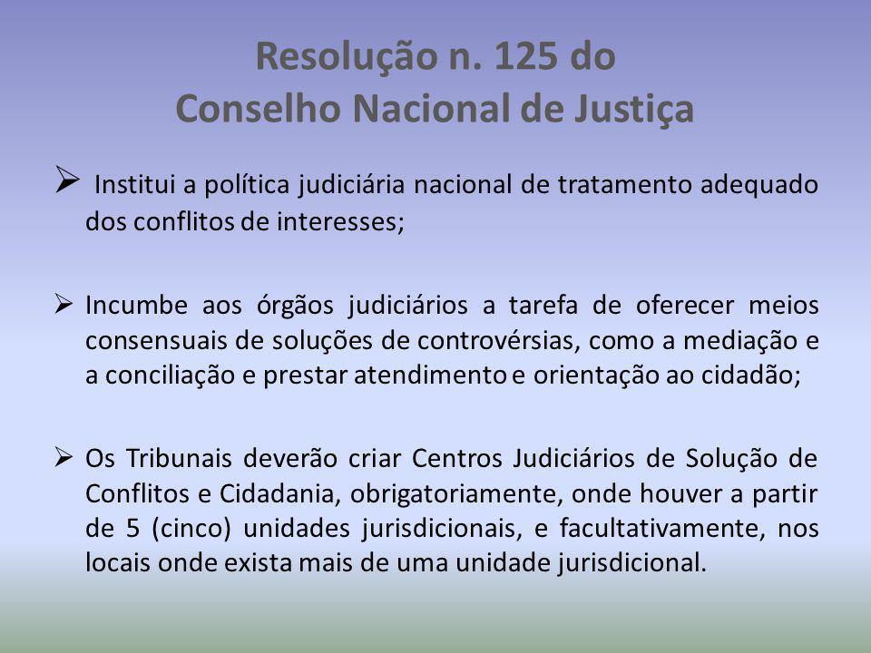 Resolução n. 125 do Conselho Nacional de Justiça  Institui a política judiciária nacional de tratamento adequado dos conflitos de interesses;  Incum