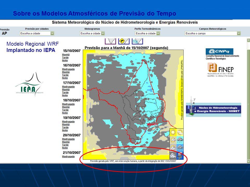 Modelo Regional WRF Implantado no IEPA As previsões serão fornecidas para 7 dias.