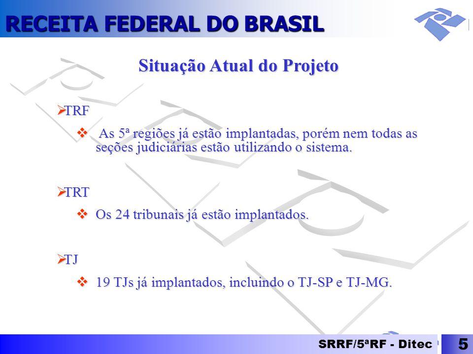RECEITA FEDERAL DO BRASIL SRRF/5ªRF - Ditec 5 5 Situação Atual do Projeto  TRF  As 5ª regiões já estão implantadas, porém nem todas as seções judici