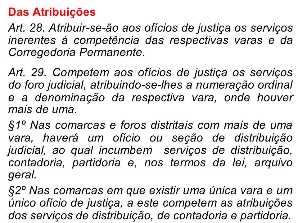 Das Atribuições Art. 28. Atribuir-se-ão aos ofícios de justiça os serviços inerentes à competência das respectivas varas e da Corregedoria Permanente.