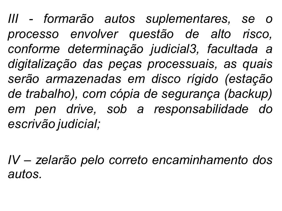 III - formarão autos suplementares, se o processo envolver questão de alto risco, conforme determinação judicial3, facultada a digitalização das peças