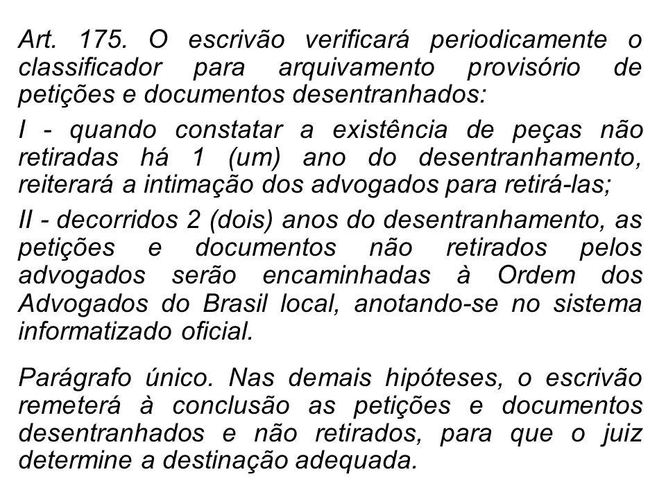 Art. 175. O escrivão verificará periodicamente o classificador para arquivamento provisório de petições e documentos desentranhados: I - quando consta