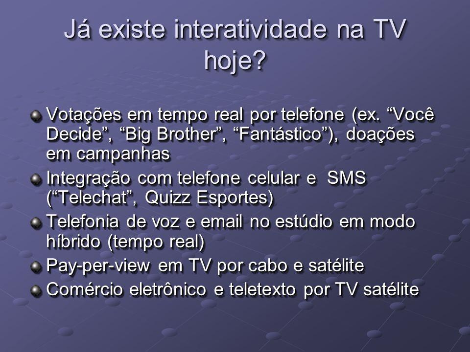 Já existe interatividade na TV hoje. Votações em tempo real por telefone (ex.