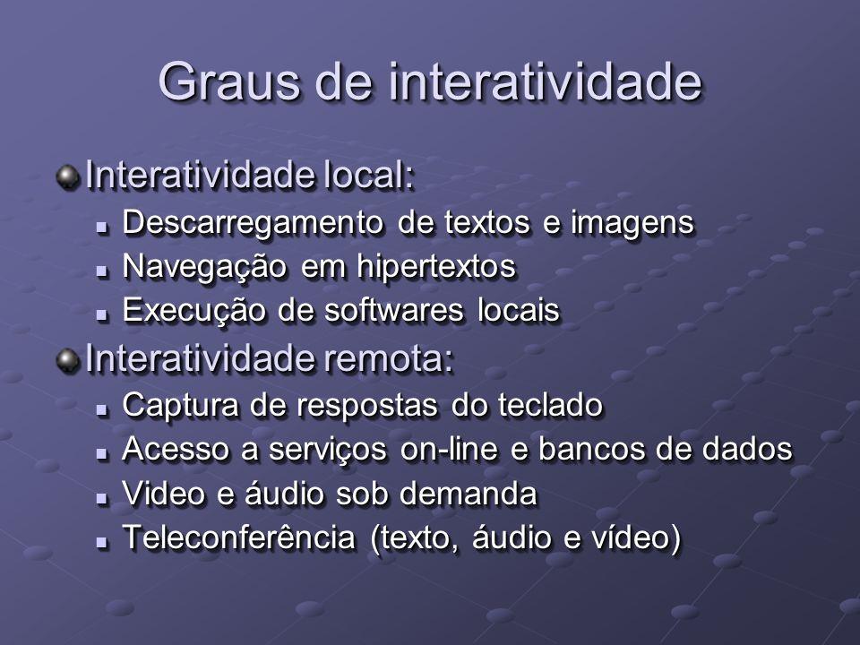O que será necessário Priorizar a implantação da interatividade no modelo da TVD Brasileira: Linha telefônica fixa (cabeada) Linha telefônica fixa (cabeada) Linha telefônica fixa (celular e WLL) Linha telefônica fixa (celular e WLL) Linha telefônica móvel (celular) Linha telefônica móvel (celular) Redes sem fio: WiFi e WiMax Redes sem fio: WiFi e WiMax Linha elétrica Linha elétrica Satélite Satélite Priorizar a implantação da interatividade no modelo da TVD Brasileira: Linha telefônica fixa (cabeada) Linha telefônica fixa (cabeada) Linha telefônica fixa (celular e WLL) Linha telefônica fixa (celular e WLL) Linha telefônica móvel (celular) Linha telefônica móvel (celular) Redes sem fio: WiFi e WiMax Redes sem fio: WiFi e WiMax Linha elétrica Linha elétrica Satélite Satélite