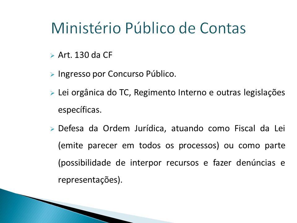 Ministério Público de Contas  Coordenado por um Procurador Geral escolhido pelo Governador por um mandato de dois anos (em regra).