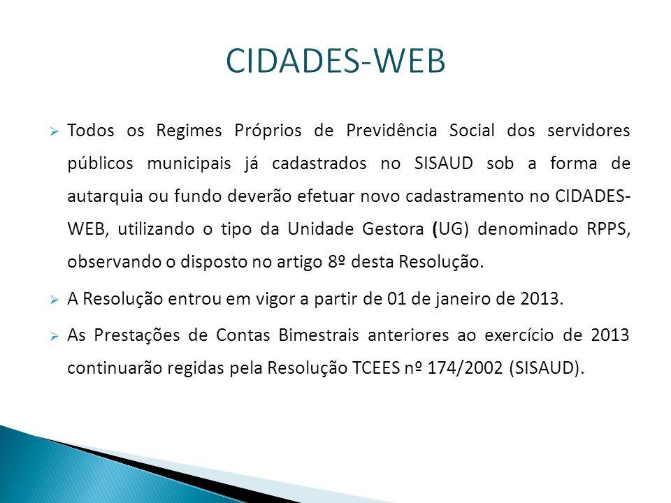  A Resolução TC Nº 256, de 05 de março de 2013, alterou os prazos para envio de dados através do CIDADES-WEB, que são os seguintes:  Abertura: até 01/07/2013;  Primeiro Bimestre: até 05/08/2013;  2º e 3º Bimestres: até 07/10/2013;  4º e 5º Bimestres: até 09/12/2013;  6º Bimestre: até 05/02/2014.