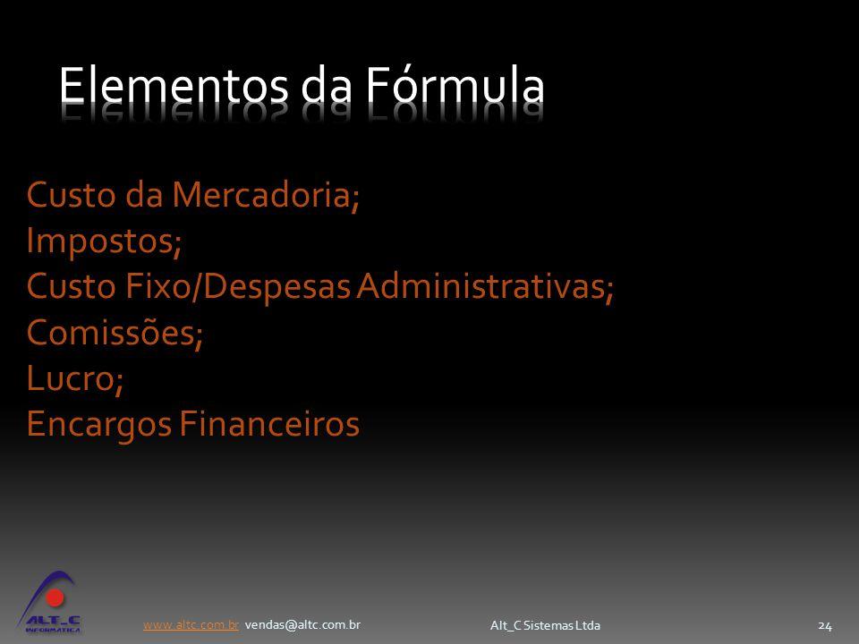www.altc.com.brwww.altc.com.br vendas@altc.com.br Alt_C Sistemas Ltda 24 Custo da Mercadoria; Impostos; Custo Fixo/Despesas Administrativas; Comissões