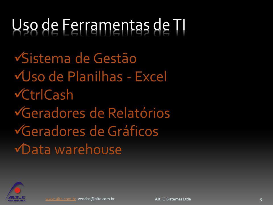 www.altc.com.brwww.altc.com.br vendas@altc.com.br Alt_C Sistemas Ltda 3 Sistema de Gestão Uso de Planilhas - Excel CtrlCash Geradores de Relatórios Ge