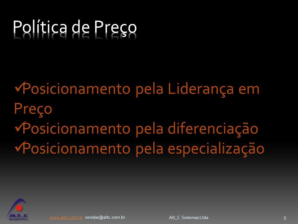 www.altc.com.brwww.altc.com.br vendas@altc.com.br Alt_C Sistemas Ltda 5 Posicionamento pela Liderança em Preço Posicionamento pela diferenciação Posic